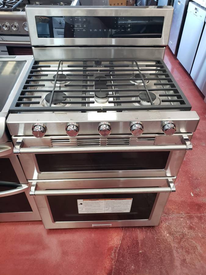KitchenAid 6.0 cu. ft. Double Oven Gas Range with Self ...
